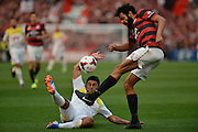 20.10.2013 Sydney, Australia. Wanderers defender Nikolai Topor-Stanley and Wellingtons midfielder Carlos Hernandez in action during the Hyundai A League game between Western Sydney Wanderers FC and Wellington Phoenix FC from the Pirtek Stadium, Parramatta. The game ended in a 1-1 draw.