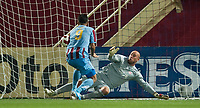 TRABZON, TURKEY - Thursday, August 26, 2010: Liverpool's goalkeeper Pepe Reina is beaten by Trabzonspor's Teofilo Gutierrez for the opening goal during the UEFA Europa League Play-Off 2nd Leg match at the Huseyin Avni Aker Stadium. (Pic by: David Rawcliffe/Propaganda)