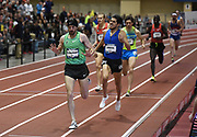 Mar 5, 2017; Albuquerque, NM, USA; Ben Blankenship defeats Cristian Soratos to win the mile, 3:59.22 to 3:59.56, during the USA Indoor Championships at the Albuquerque Convention Center.