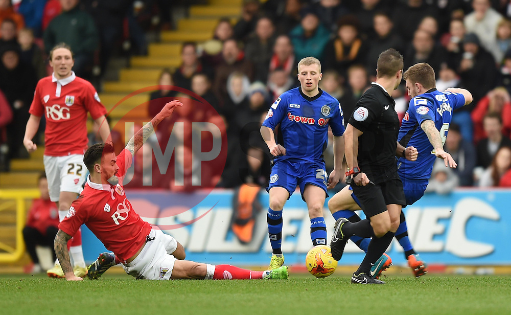 Bristol City's Marlon Pack tackles Rochdale's Ashley Eastham - Photo mandatory by-line: Paul Knight/JMP - Mobile: 07966 386802 - 28/02/2015 - SPORT - Football - Bristol - Ashton Gate Stadium - Bristol City v Rochdale - Sky Bet League One