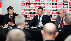 L-R Bristol City Football Managing Director Jon Lansdown, Manager Derek McInnes (SCO) and Chairman Keith Dawe face fans questions during the clubs Annual Supporters Meeting held in the AMC Communications Lounge - Photo mandatory by-line: Rogan Thomson/JMP - Tel: Mobile: 07966 386802 06/12/2012 - SPORT - FOOTBALL - Ashton Gate - Bristol - Club AGM.