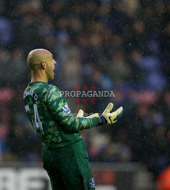 WIGAN, ENGLAND - Saturday, February 4, 2012: Everton's goalkeeper Tim Howard looks dejected during the Premiership match against Wigan Athletic at the JJB Stadium. (Pic by Vegard Grott/Propaganda)g