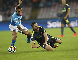 October 21, 2017 - Naples, Campania/Napoli, Italy - Italy- Naples October 21, 2017 A-Serie A football match at the San Paolo Stadium between Naples and Inter..That night they met the first two teams of high class Napoli who is in first place and Inter at second..Already the soccer experts speak of scudetto racing in Italy.Naples..Naples: Hallan.Inter: Gagliardini (Credit Image: © Fabio Sasso/Pacific Press via ZUMA Wire)