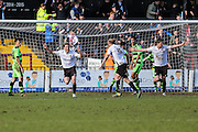 Bromley's Jack Holland celebrates his late equaliser during the Vanarama National League match between Bromley FC and Forest Green Rovers at Hayes Lane, Bromley, United Kingdom on 28 March 2016. Photo by Shane Healey.