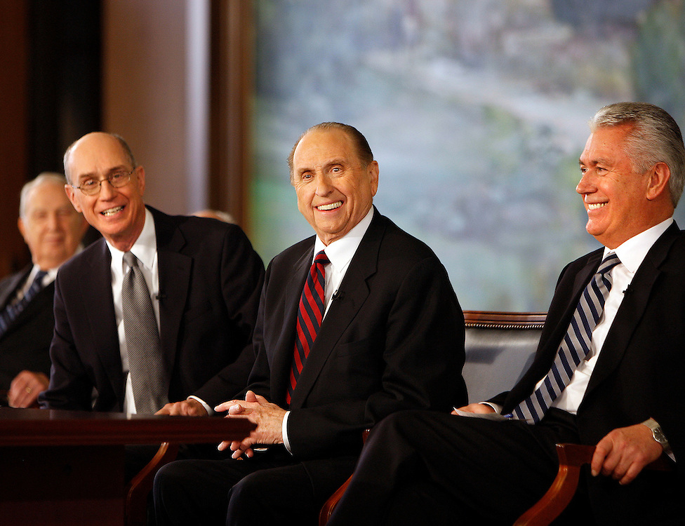 President Thomas S. Monson, center new president of the Church of Jesus Christ of Latter-day Saints, left, 1st counselor Henry B. Eyring and right, 2nd Counselor Dieder F. Uchtdorf are named as the new first presidency of the LDS church at a news conference at the LDS Church office building in Salt Lake City, Utah Monday Feb. 4, 2008. August Miller/ Deseret Morning News .