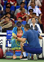 ZHUHAI, Nov. 5, 2016  Zhang Shuai (L) of China communicates with her coach during a break of the women's singles semifinal against Petra Kvitova of the Czech Republic at the WTA Elite Trophy tournament in Zhuhai, south China's Guangdong Province,on Nov. 5, 2016. Zhang Shuai lost 0-2. (Credit Image: © Lu Hanxin/Xinhua via ZUMA Wire)