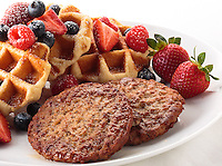 Sausage patties with waffles and fruit