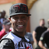 LAS VEGAS, NV - APRIL 14: Zab Judah smiles as he arrives to view WBC/WBA welterweight champion Floyd Mayweather Jr. work out for the media at the Mayweather Boxing Club on April 14, 2015 in Las Vegas, Nevada. Mayweather will face WBO welterweight champion Manny Pacquiao in a unification bout on May 2, 2015 in Las Vegas.  (Photo by Alex Menendez/Getty Images) *** Local Caption *** Zab Judah
