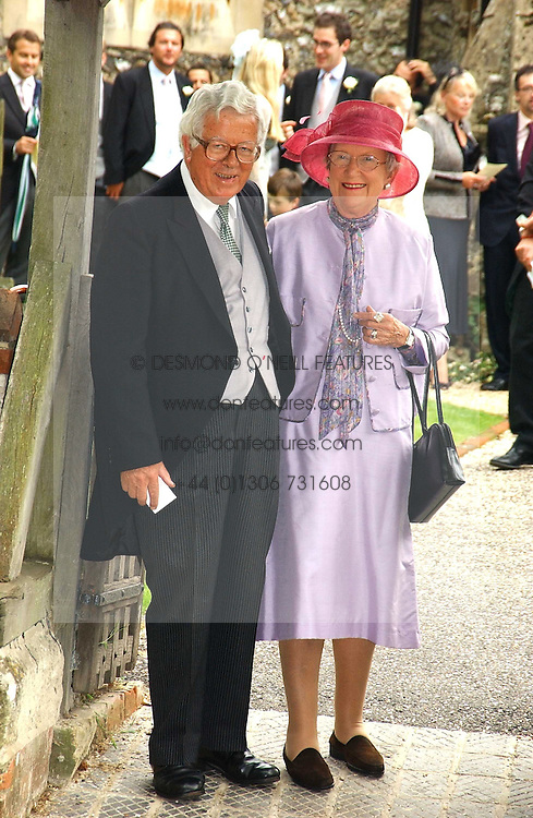 LORD & LADY GEOFFREY HOWE at the wedding of Tom Parker Bowles to Sara Buys at St.Nicholas Church, Rotherfield Greys, Oxfordshire on 10th September 2005.<br />