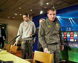 MADRID, SPAIN - Monday, November 3, 2014: Liverpool's manager Brendan Rodgers and Jordan Henderson arrive for a press conference at the Estadio Santiago Bernabeu ahead of the UEFA Champions League Group B match against  Real Madrid CF. (Pic by David Rawcliffe/Propaganda)