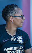Hope Powell, Manager of Brighton & Hove Albion FC during the FA Women's Super League match between Brighton and Hove Albion Women and Chelsea at The People's Pension Stadium, Crawley, England on 15 September 2019.