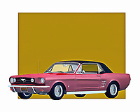 When you think about the Mustang, it's easy to imagine a vehicle that is in complete control of the road. You can envision a car with the ability to take you anywhere your heart desires. This classic car is brilliantly recreated as a digital painting by the renowned artist Jan Keteleer.