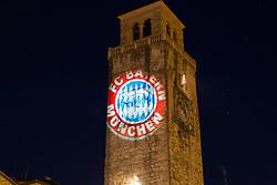 04.07.2013, Riva del Garda, Gardasee, ITA, FC Bayern Muenchen Trainingslager, im Bild Es ist Bayern Zeit, Bayern Wappen mit Lichttechnik auf den Glockenturm von Riva geworfen, // during the Trainings Camp of German Bundesliga Club FC Bayern Munich at the Riva del Garda, Lake Garda, Italy on 2013/07/04. EXPA Pictures © 2013, PhotoCredit: EXPA/ Eibner/ Alexander Neis<br /> <br /> ***** ATTENTION - OUT OF GER *****