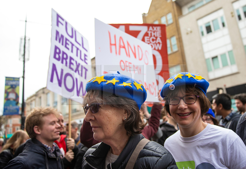 © Licensed to London News Pictures. 15/04/2018. London, UK. EU supporters pass pro-Brexit protesters outside the Electric Ballroom in Camden before the launch event for the People's Vote campaign which is calling for a public vote on the final Brexit deal. Photo credit: Rob Pinney/LNP