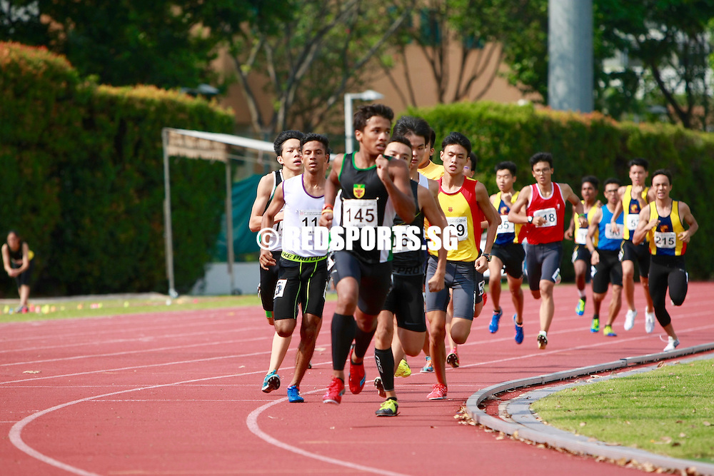 Bishan Stadium, Friday, April 22, 2016 &mdash; After trailing for most of the race, Mark Llewellyn Lim of Raffles Institution (RI) pulled off a devastating kick on the home stretch to snatch the A Division Boys' 800 metres gold at the 57th National Schools Track and Field Championships, clocking 2 minutes 3.74 seconds.<br /> <br /> Mohammad Syafiq Anshad (2:04.27) made it a one-two finish for RI, while Shamus Lim (2:04.64) of Hwa Chong Institution (HCI) finished in third.