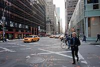 street scene on broadway in New York City in October 2008