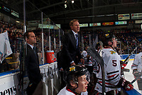KELOWNA, BC - OCTOBER 20:  Portland Winterhawks' head coach, Mike Johnston and associate coach Kyle Gustafson stand on the bench against the Kelowna Rockets at Prospera Place on October 20, 2017 in Kelowna, Canada. (Photo by Marissa Baecker/Getty Images)