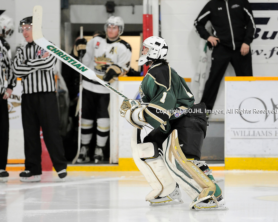 TRENTON, ON - Mar 13, 2015 : Ontario Junior Hockey League game action between the Trenton Golden Hawks and the Cobourg Cougars. Game four of the best of seven series, Tyler Lewis #1 of the Cobourg Cougars during the second period<br /> (Photo by Amy Deroche/ OJHL Images)