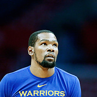LOS ANGELES, CA - APR 26: Kevin Durant (35) of the Golden State Warriors warms up during Game 6 of the Western Conference First Round on April 26, 2019 at the Staples Center, in Los Angeles, California.