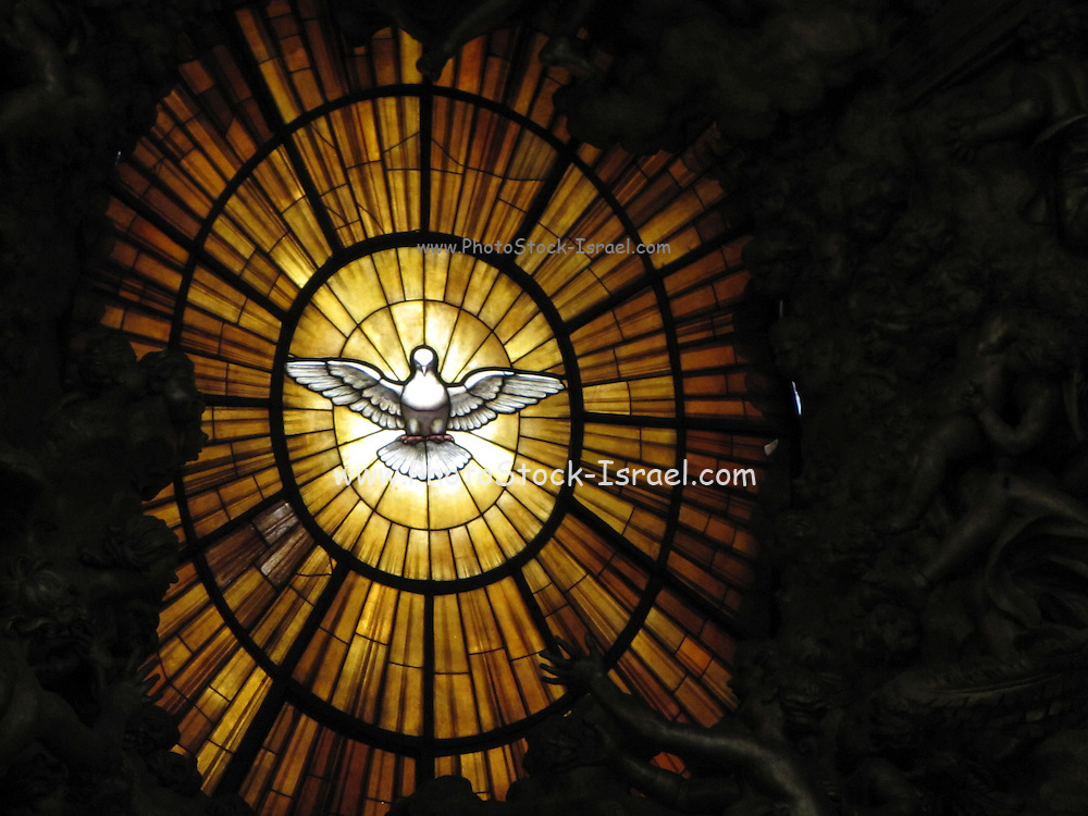 Italy, Rome, interior of the Basilica st peter stained glass window