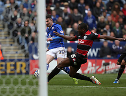 Leicester City's David Nugent scores the first goal  - Photo mandatory by-line: Matt Bunn/JMP - Tel: Mobile: 07966 386802 -19/04/2014 - SPORT - FOOTBALL - King Power Stadium- Leicester - Leicester City v Queens Park Rangers- Sky Bet Championship