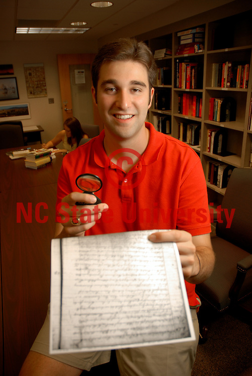 CHASS Honors student Allen Driggers works on a history research paper.    PHOTO BY ROGER WINSTEAD