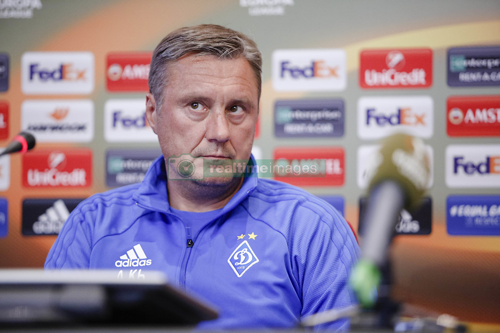 September 13, 2017 - Kiev, Ukraine - Dynamo Kyiv's coach Aleksandr Khatskevich attends a press conference in Kyiv, Ukraine, September 13, 2017. FC Dynamo Kyiv gets the last preparation before the game against Albanian SkÃ«nderbeu in the UEFA Europa League Group B opener. (Credit Image: © Sergii Kharchenko/NurPhoto via ZUMA Press)