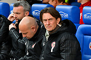 Brentford manager Thomas Frank during the EFL Sky Bet Championship match between Reading and Brentford at the Madejski Stadium, Reading, England on 13 April 2019.