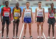 Andrew Butchart (Great Britain), yawns, yawning, before Heat 1 of the 5000 metres Man, Round 1, Braima Dabo (Guinnea-Bissau), Oscar Chelimo (Uganda), Julien Wanders (Switzerland), Jacob Krop (Kenya), during the 2019 IAAF World Athletics Championships at Khalifa International Stadium, Doha, Qatar on 27 September 2019.