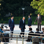 HIROSHIMA, JAPAN - MAY 27 : U.S. President Barack Obama (right) and Prime Minister Shinzo Abe (left) lay a wreath at the cenotaph in the Hiroshima Peace Memorial Park in Hiroshima, Japan on May 27, 2016.<br /> <br /> Photo: Richard Atrero de Guzman<br /> <br />  <br /> <br /> <br /> <br /> <br /> <br /> Photo: Richard Atrero de Guzman