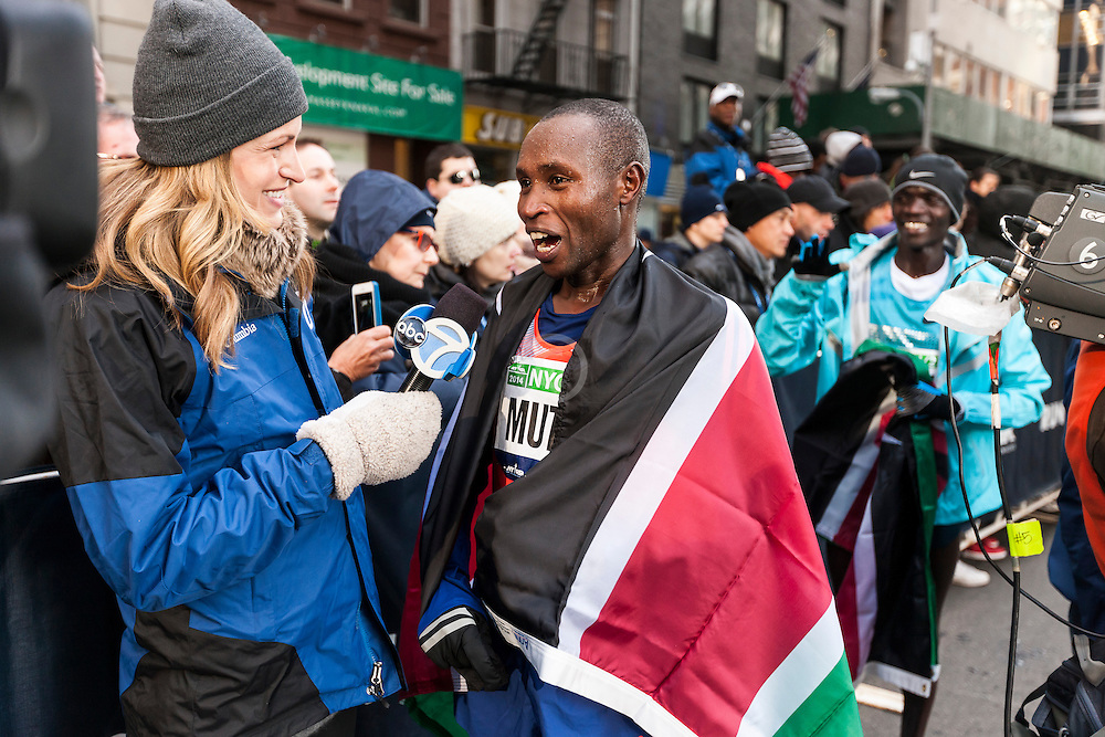 Geoffrey Mutai interviewed by TV after winning race
