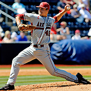 Arkansas pitcher Jalen Beeks (49) releases a pitch during an NCAA college baseball game against Mississippi in Oxford, Miss., Saturday, May 3, 2014. (Photo/Thomas Graning)