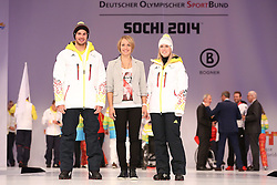 01.10.2013, Messe, Duesseldorf, GER, Einkleidung Olympiamannschaft Sochi 2014, im Bild Magdalene Neuner (bildmitte) hat die neuen Adidas Muetzen entworfen mit Andrea Rothfuss (Ski Alpin Paralympics rechts) und Bene Mayr (Snowboard), // during the Presentation of the Olympic Team Germany for Sochi 2014 at the Messe, Duesseldorf, Germany on 2013/10/01. EXPA Pictures © 2013, PhotoCredit: EXPA/ Eibner/ Joerg Schueler<br /> <br /> ***** ATTENTION - OUT OF GER *****