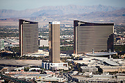 Trump Tower building in Las Vegas, NV with the Encore at Wynn Las Vegas - luxury resort and casino behind it.