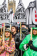 Stop the Bombing of Iraq - Don't Attack Syria Demonstration and march from Temple Place to Downing Street. Here they are in Whitehall.   Organised by the Stop the War Coalition. Westminster, London, UK 4 Oct 2014. Guy Bell, 07771 786236, guy@gbphotos.com