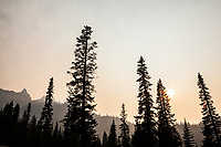 Smoke filled air around Mount Rainier National Park in August of 2018, Washington, USA.