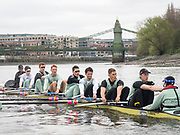 London. UNITED KINGDOM.   Tideway Week. THE CANCER RESEARCH UK BOAT RACES. 163rd Mens Boat Race and The 72nd Women's Boat Race on the Championship Course, River Thames, Putney/Mortlake.  Wednesday  29/03/2017    [Mandatory Credit. Intersport Images]<br /> <br /> Cambridge, Crew, Bow: Ben Ruble, 2 Freddie Davidson, 3 James Letten, 4 Timothy Tracey, 5 Aleksander Malowany, 6 Patrick Eble, 7 Lance Tredell, Stroke Henry Meek, Cox Hugo Ramambason.