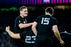 New Zealand replacement Tawera Kerr-Barlow celebrates after New Zealand replacement Beauden Barrett scores a try towards the end of the match - Mandatory byline: Rogan Thomson/JMP - 07966 386802 - 31/10/2015 - RUGBY UNION - Twickenham Stadium - London, England - New Zealand v Australia - Rugby World Cup 2015 FINAL.