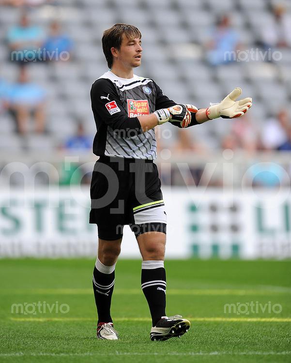 2. Fussball Bundesliga:  Saison   2011/2012,    2.  Spieltag  TSV 1860 Muenchen - FC Erzgebirge Aue  14.08.2011 Torwart Martin Maennel (FC Erzgebirge Aue)