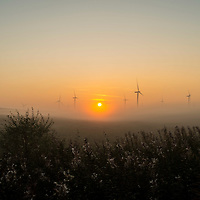 Picture by Christian Cooksey. The sun rises over Whitelee windfarm, which is situated to the south of Glasgow on Eaglesham Moor. The windfarm is the largest on shore windfarm in the UK. It has 215 turbines, producing 539 megawatts of electricity, which can power almost 300,000 homes.
