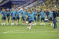 May 25, 2018 - Kiev, Ukraine - Real Madrid's Sergio Ramos kicks the ball during their training session for UEFA Champions League Final against Liverpool FC at NSC Olimpiyskyi in Kyiv, Ukraine, May 25, 2018. UEFA Champions League Final  (Credit Image: © Sergii Kharchenko/NurPhoto via ZUMA Press)