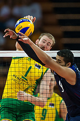 07.09.2014, Jahrhunderthalle, Breslau, POL, FIVB WM, Australien vs Venezuela, Gruppe A, im Bild Aidan Zingel australia #1 Jose Carrasco venezuela #9 // Aidan Zingel australia #1 Jose Carrasco venezuela #9 // during the FIVB Volleyball Men's World Championships Pool A Match beween Australia and Venezuela at the Jahrhunderthalle in Breslau, Poland on 2014/09/07.<br /> <br /> <br /> ***NETHERLANDS ONLY***