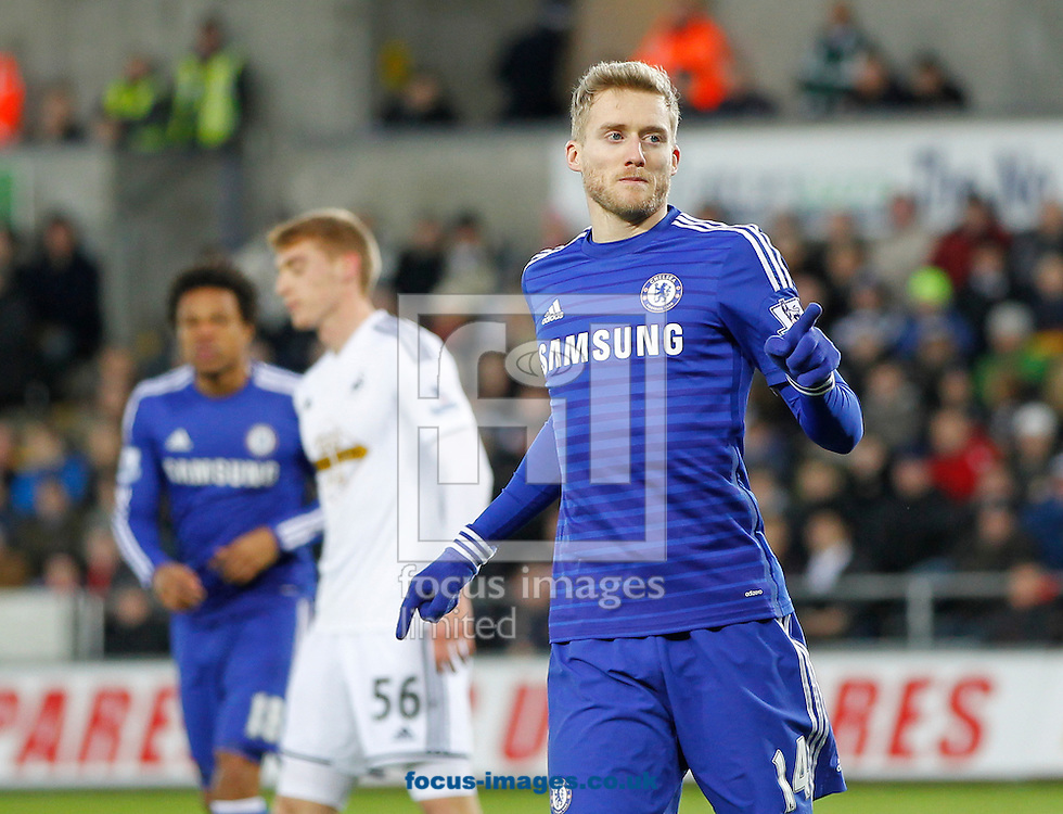 Andre Schurrle of Chelsea celebrates the fifth goal during the Barclays Premier League match at the Liberty Stadium, Swansea<br /> Picture by Mike Griffiths/Focus Images Ltd +44 7766 223933<br /> 17/01/2015