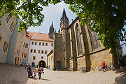 MEISSEN, GERMANY - MAY 22, 2010: Unidentified tourists visit Albrechtsburg castle in Meissen, Germany.
