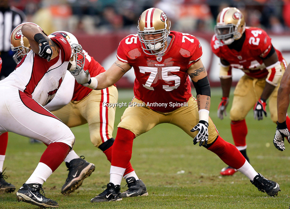 San Francisco 49ers offensive tackle Alex Boone (75) blocks during the NFL week 17 football game against the Arizona Cardinals on Sunday, January 2, 2011 in San Francisco, California. The 49ers won the game 38-7. (©Paul Anthony Spinelli)