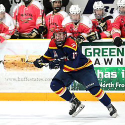TRENTON, ON  - FEB 23,  2018: Ontario Junior Hockey League game between the Trenton Golden Hawks and the Wellington Dukes, Colin Doyle #17 of the Wellington Dukes during the third period.<br /> (Photo by Ed McPherson / OJHL Images)