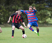 Ferry Mechanics (blue and red) v FC Kettledrum (red and black) in the Dundee Saturday Morning Football League at University Grounds, Riverside, Dundee, Photo: David Young<br /> <br />  - &copy; David Young - www.davidyoungphoto.co.uk - email: davidyoungphoto@gmail.com