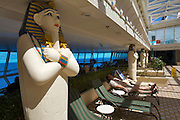 Aboard the Rhapsody of the Seas, on a cruise from Vancouver to Hawaii. The Egyptian style inside pool.
