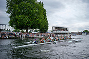 Henley Royal Regatta, 3-7 July 2019.  Eton College , as they pass the Grandstands, in their Semi-Final, of the Princess Elizabeth Challenge Cup,Royal Henley Peace Regatta Centenary, 1919-2019. Henley on Thames.<br /> <br /> <br /> <br /> [Mandatory Credit: Patrick WHITE/Intersport Images], 6, 06/07/2019,  16:12:23