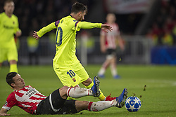 November 28, 2018 - Eindhoven, Netherlands - Lionel Messi of Barcelona fouled by Nick Viergever of PSV during the UEFA Champions League Group B match between PSV Eindhoven and FC Barcelona at Philips Stadium in Eindhoven, Netherlands on November 28, 2018  (Credit Image: © Andrew Surma/NurPhoto via ZUMA Press)